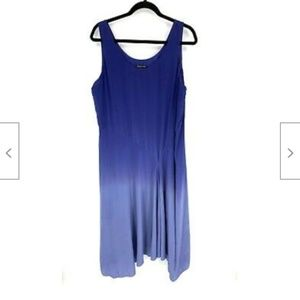 Eileen Fisher Blue Ombre Silk Charmeuse Maxi Dress